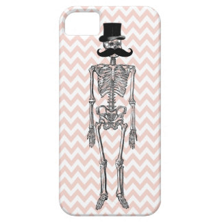 Humorous Mustache on Skeleton ORANGE iPhone Case iPhone 5 Case