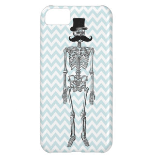 Humorous Mustache on Skeleton TEAL iPhone Case