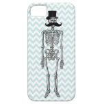 Humorous Mustache on Skeleton TEAL iPhone Case iPhone 5 Case
