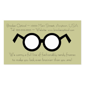 Humorous Optometrist Nerdy Round Black Glasses Double-Sided Standard Business Cards (Pack Of 100)