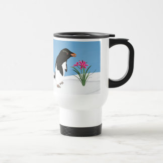 Humorous Penguin and Pink Flowers Travel Mug