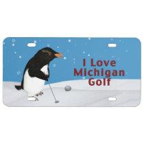 Humorous Penguin Loving Michigan Golf License Plate