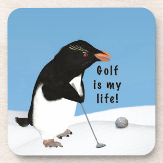 Humorous Penguin Playing Golf Drink Coasters