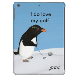 Humorous Penguin Playing Golf, Customizable Text iPad Air Covers
