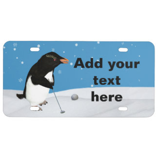 Humorous Penguin Playing Golf, Customizable Text License Plate