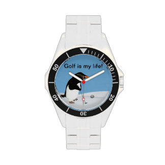 Humorous Penguin Playing Golf Customizable Wrist Watches