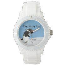 Humorous Penguin Playing Golf Customizable Wrist Watch