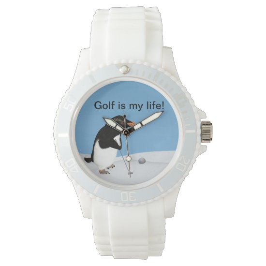 Humorous Penguin Playing Golf Customizable Wrist Watch