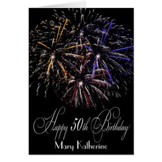 Humorous Personalized Fireworks 50th Happy Birthda Greeting Card