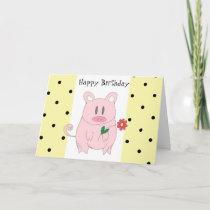Humorous Pig Birthday Card