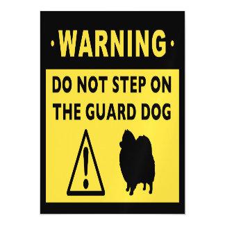 Humorous Pomeranian Guard Dog Warning Magnetic Card