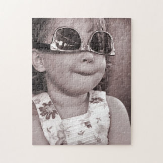 Humorous Portrait of a Girl in Sunglasses Puzzle