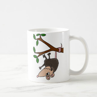 Humorous Possum Dangling from Tree Coffee Mug