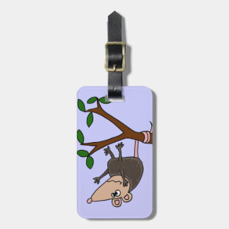 Humorous Possum Dangling from Tree Luggage Tag