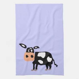 Humorous Primitive Art Cow Towel