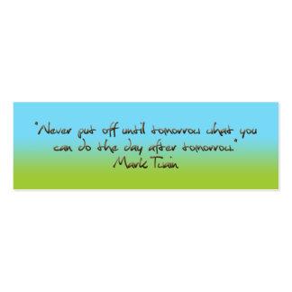 humorous quotation bookmark mini business card