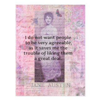 Humorous quote by JANE AUSTEN about people Postcard