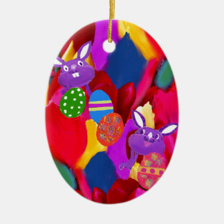 Humorous rabbits play with amazing Easter eggs Ceramic Ornament
