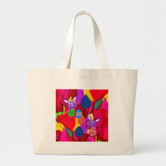 Humorous rabbits play with amazing Easter eggs Large Tote Bag