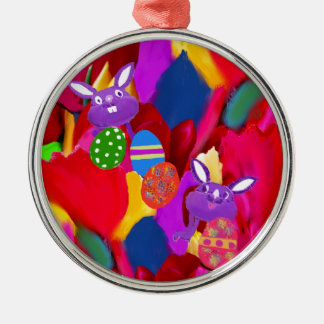 Humorous rabbits play with amazing Easter eggs Metal Ornament