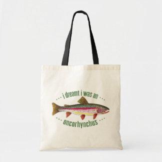 Humorous Rainbow Trout Design Tote Bag