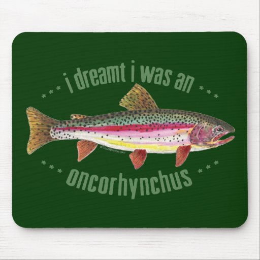 Humorous Rainbow Trout Design Mouse Pad