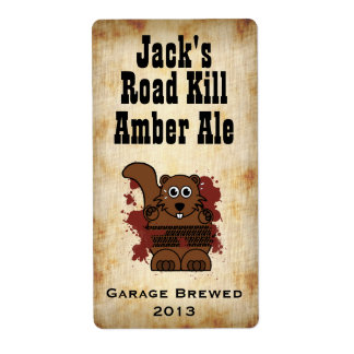 Humorous Road Kill Home Brew Beer Label Shipping Label