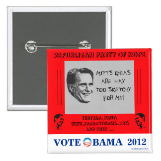 HUMOROUS Romney Sketchy Obama in 2012 political pi Pinback Button