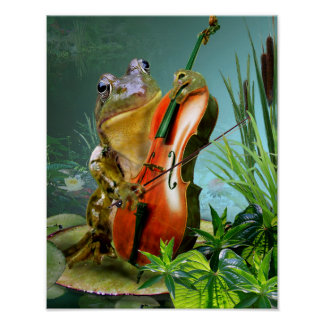 Humorous scene frog playing cello in lily pond poster
