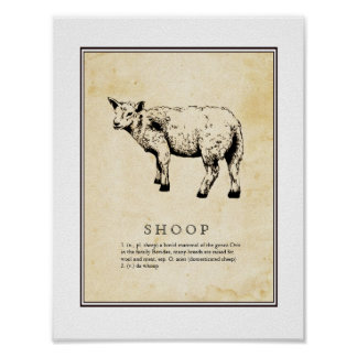 Humorous Scientific Illustration - Shoop (Sheep) Poster