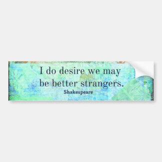 Humorous Shakespeare Insult quote Bumper Sticker