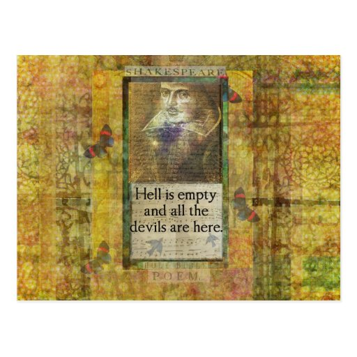 Humorous Shakespeare QUOTE art words Postcard