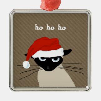 Humorous Siamese Santa Cat with Custom Text Metal Ornament
