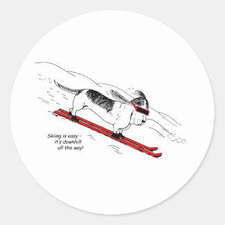 Humorous Skiing Dog Classic Round Sticker