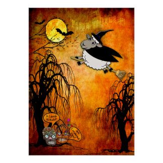 Humorous Sugar Skulls and Halloween Lamb-Witch Poster