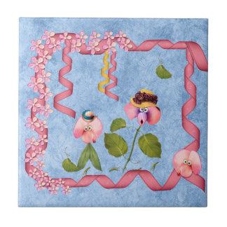Humorous Sweet Peas Pink & Mauve Flower People Ceramic Tile