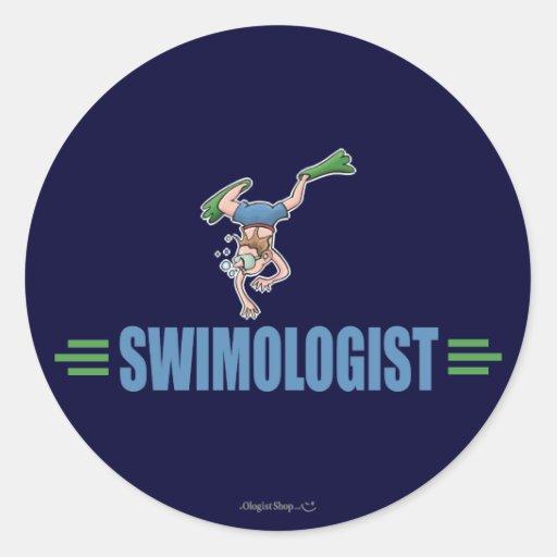 Humorous Swimming Classic Round Sticker