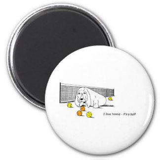 Humorous Tennis Playing Dog 2 Inch Round Magnet