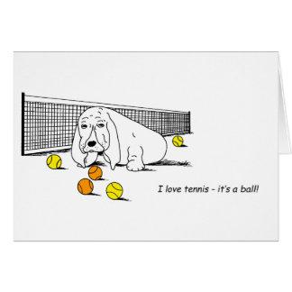 Humorous Tennis Playing Dog Card