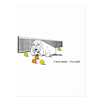 Humorous Tennis Playing Dog Postcard