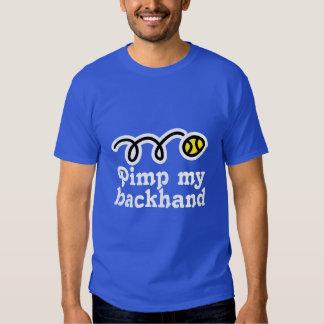 Humorous tennis quote t-shirt   Pimp my backhand