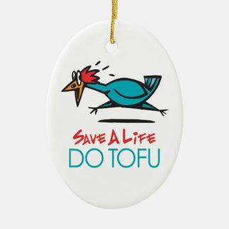 Humorous Tofu Design Ceramic Ornament