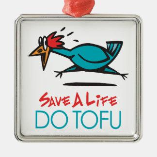 Humorous Tofu Design Metal Ornament