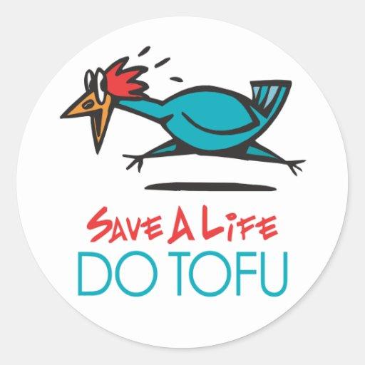 Humorous Tofu Design Round Sticker