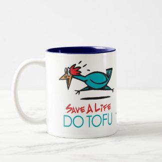 Humorous Tofu Design Two-Tone Coffee Mug