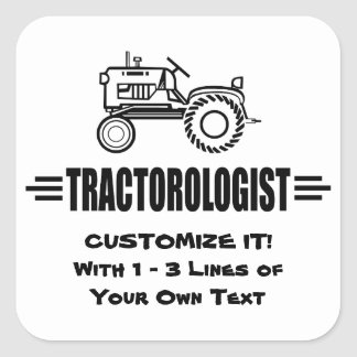 Humorous Tractor Racing Square Sticker