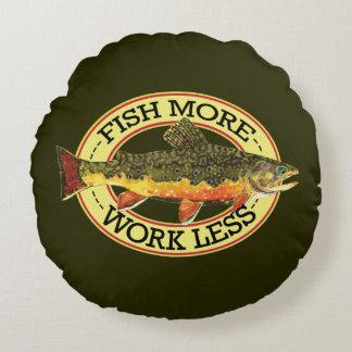 Humorous Trout Fishing Round Pillow