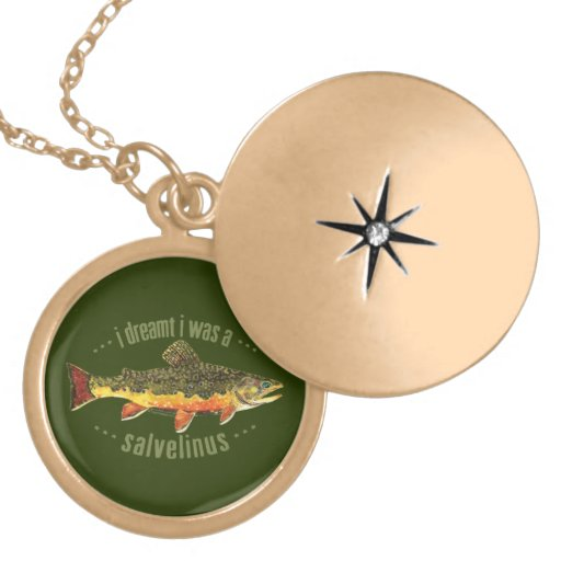 Humorous Trout Fishing Round Locket Necklace