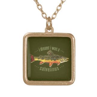 Humorous Trout Fishing Square Pendant Necklace