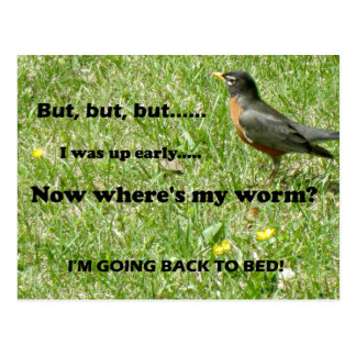 """Humorous twist to """"The Early Bird Gets the Worm"""" Postcard"""